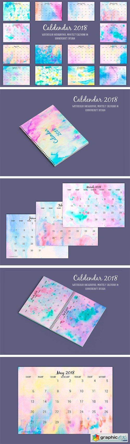 2018 Calendar Monthly Watercolor