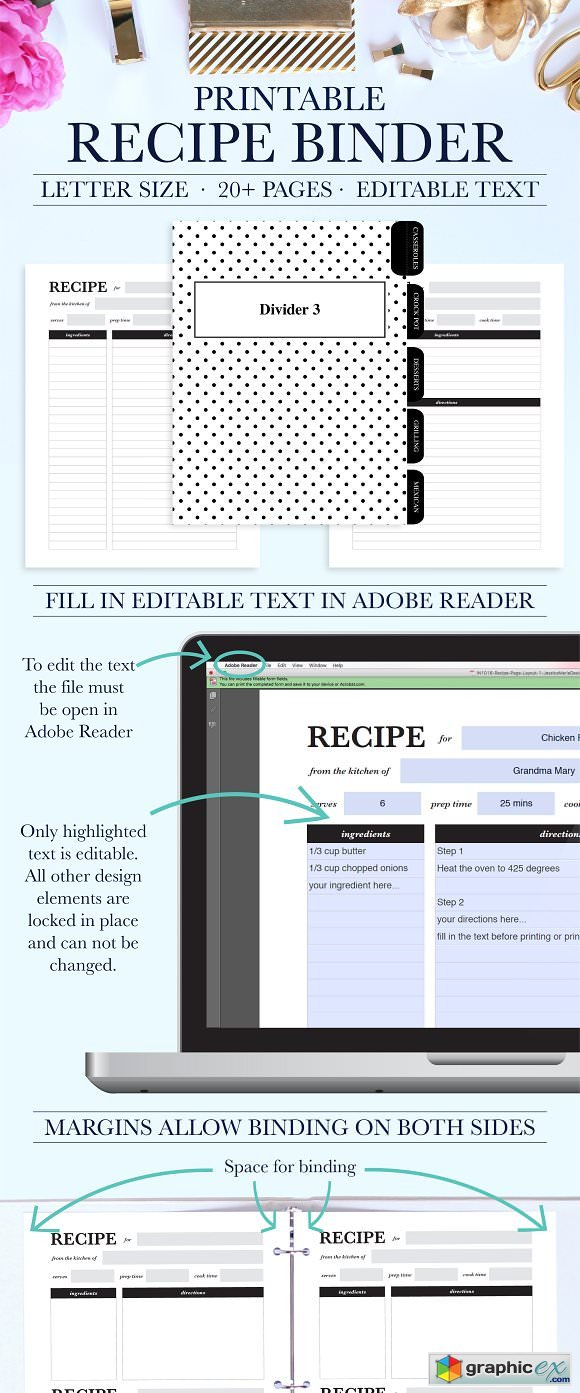 graphic regarding Free Printable Recipe Binder Kit identify Recipe Binder Printable Package 2065216 » Free of charge Obtain Vector