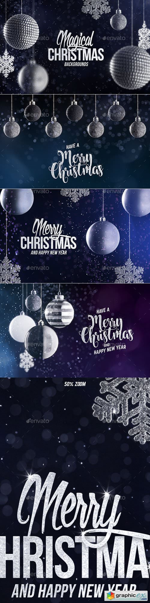 4 Christmas Backgrounds with Editable Text