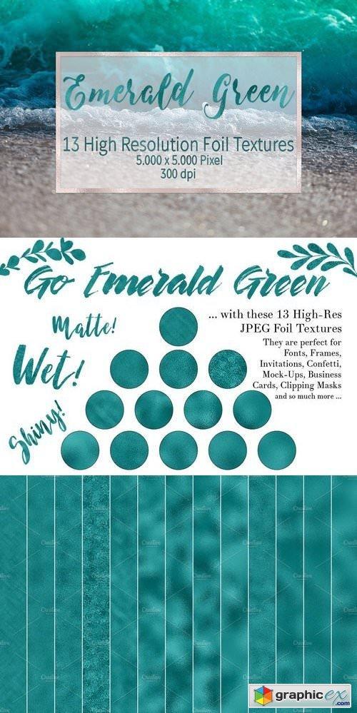 Emerald Green Foil Textures