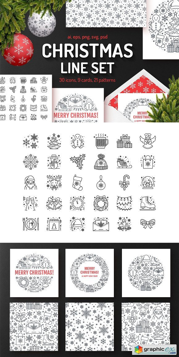 Christmas Line Set Icons, Patterns