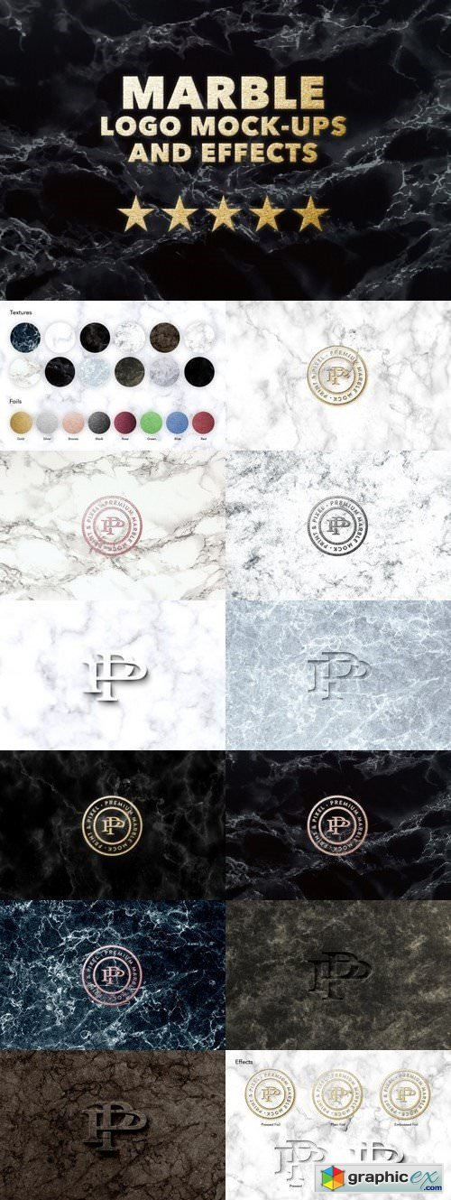 Marble logo effects mock + textures