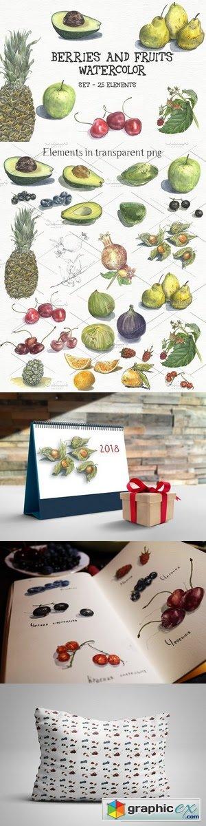 Watercolor berries and fruits - set