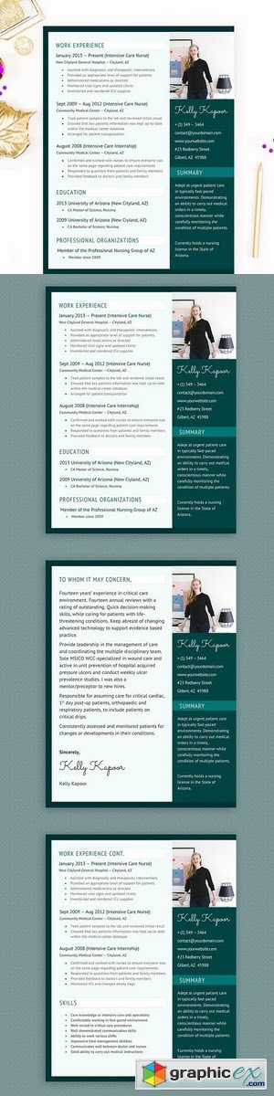Nurse MS Word Resume Template Pkg 2110862