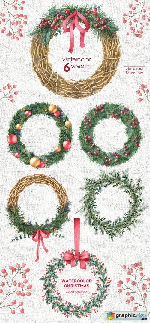 Watercolor Christmas cliparts
