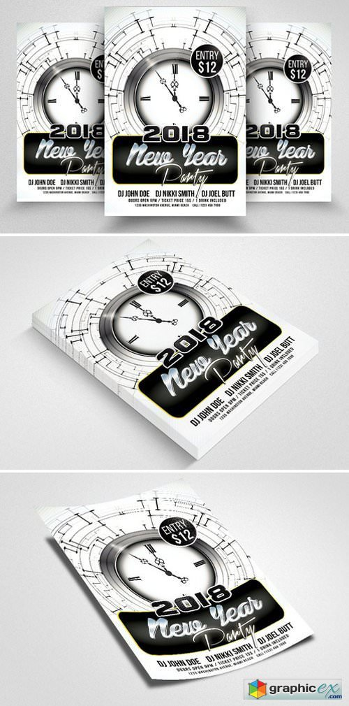 Happy New Year Psd Flyer Templates » Free Download Vector Stock ...