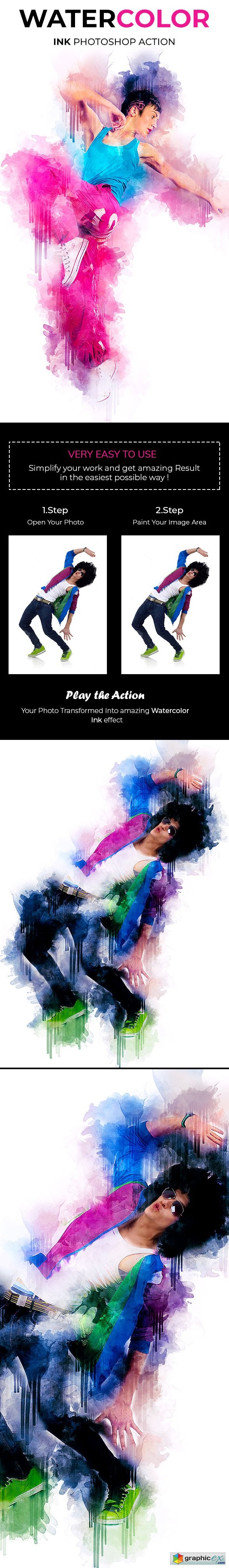 Watercolor Ink Photoshop Action 21189387