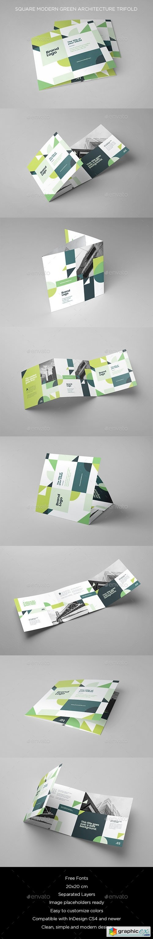 Square Modern Green Architecture Trifold