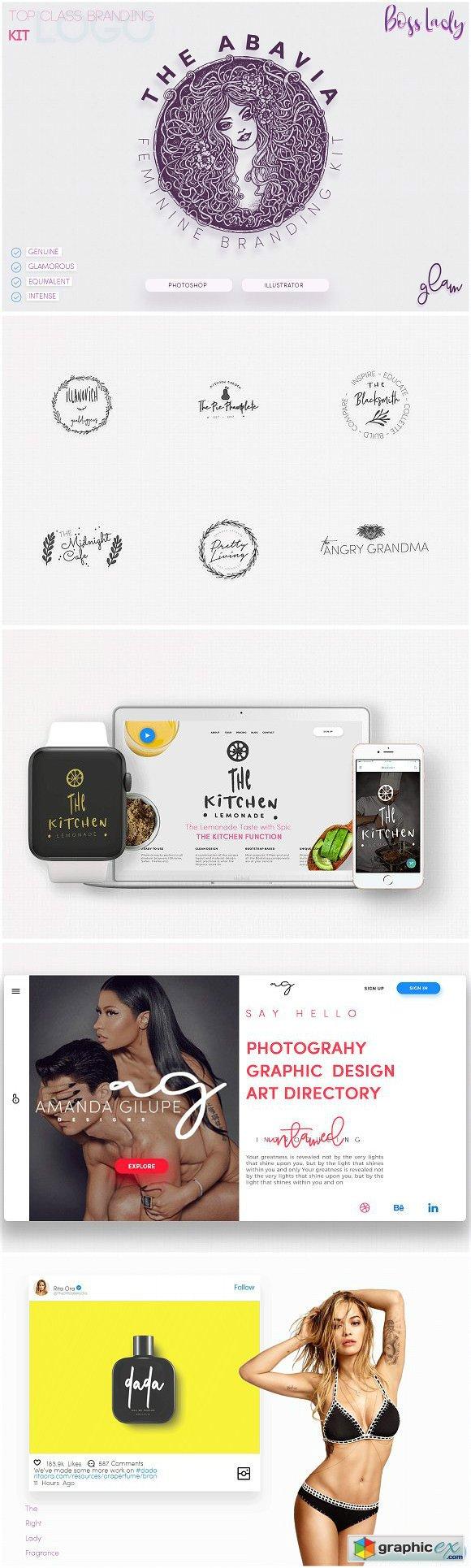 The Abavia feminine branding kit