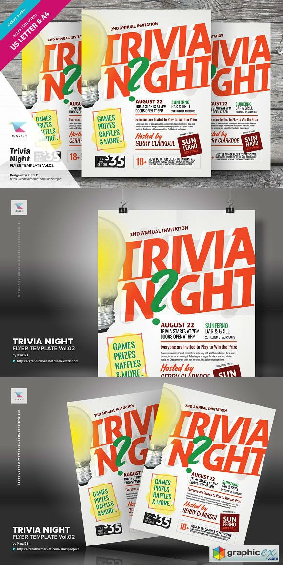 trivia night flyer template vol 02 free download vector stock