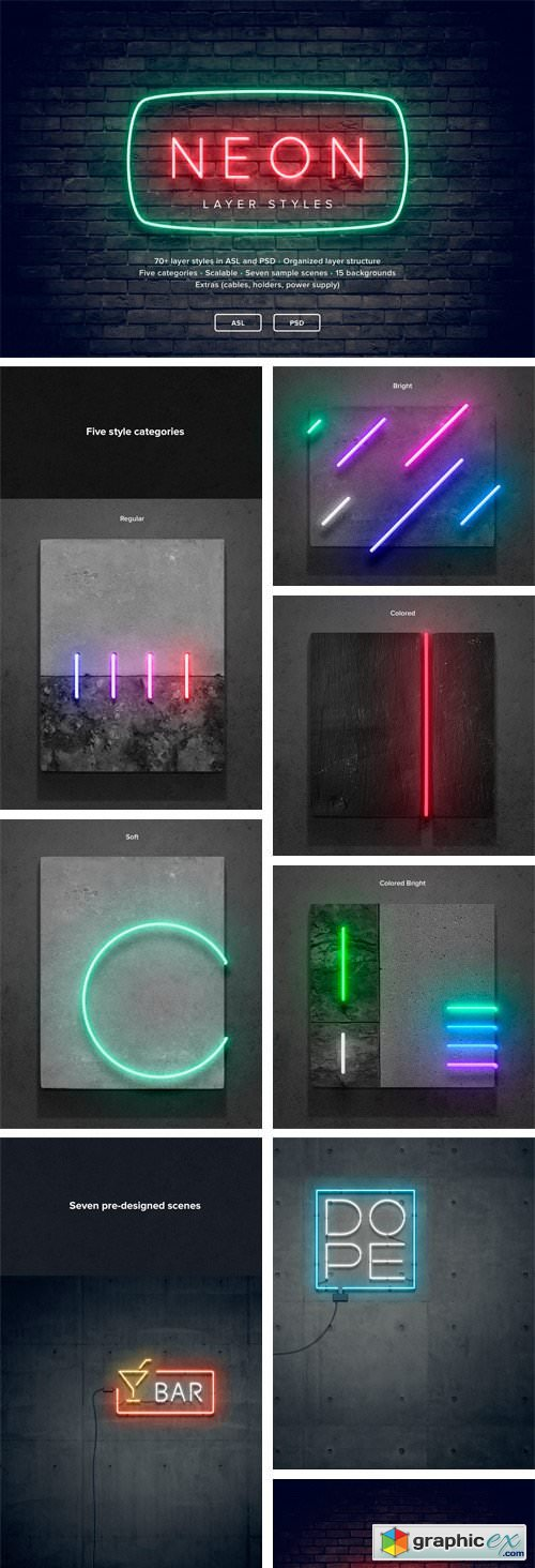 neon layer styles 2181568 free download vector stock image