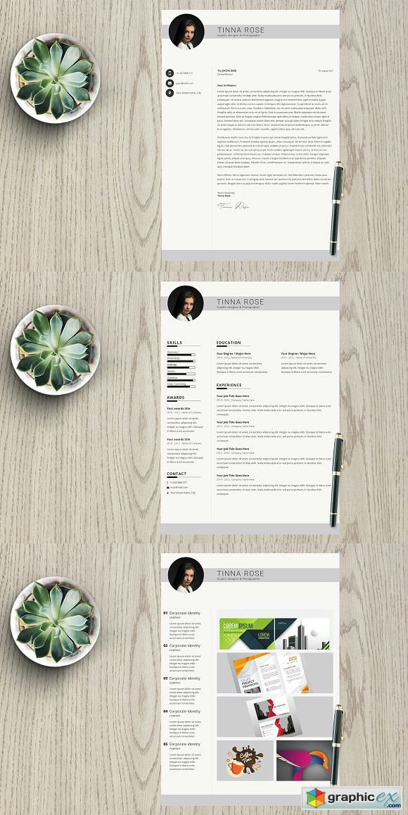 Resume Template 3 page pack Tinna