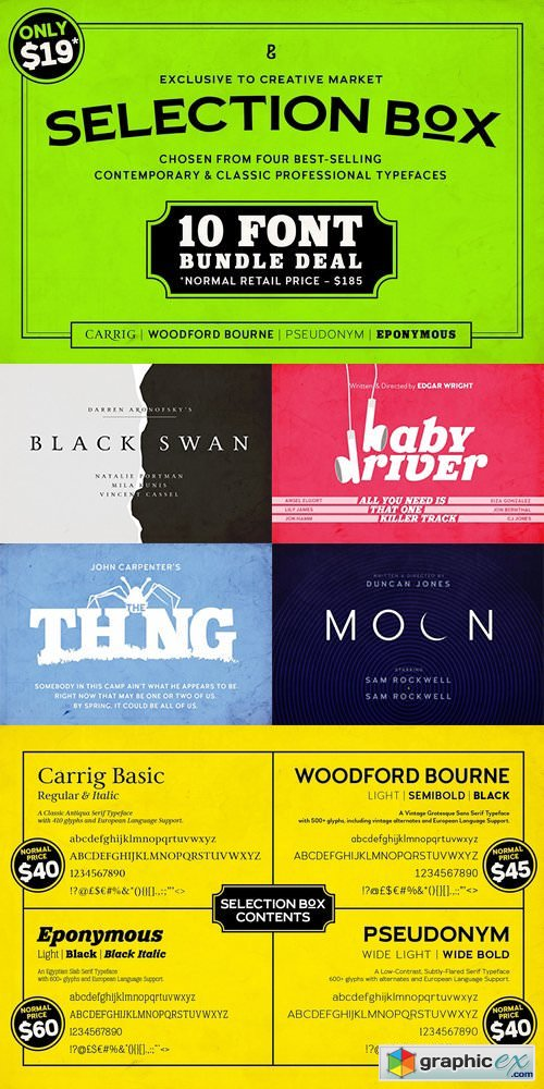 Selection Box � 10 Font Bundle