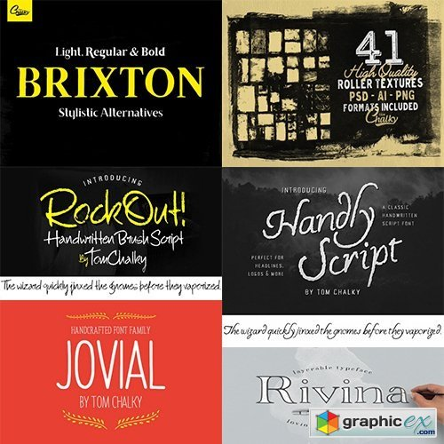 57 Handcrafted Fonts 230 Textures & 100s of Design Extras - 97 Fonts
