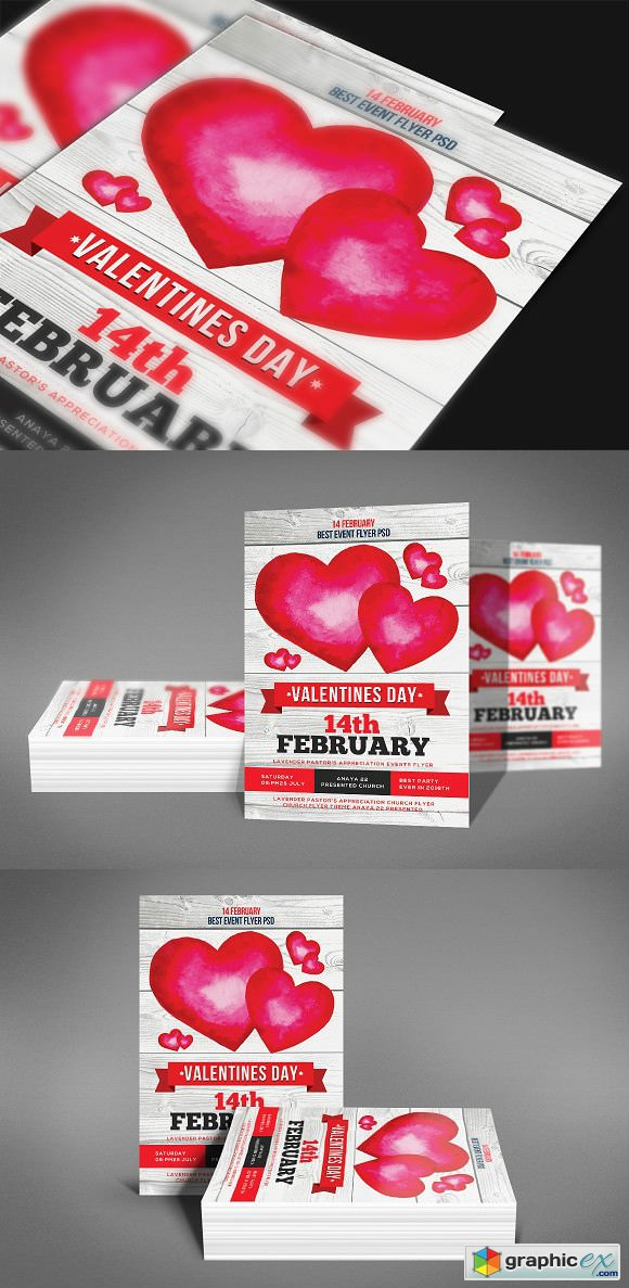 Valentines Day Flyer Template 2196847 Free Download Vector Stock