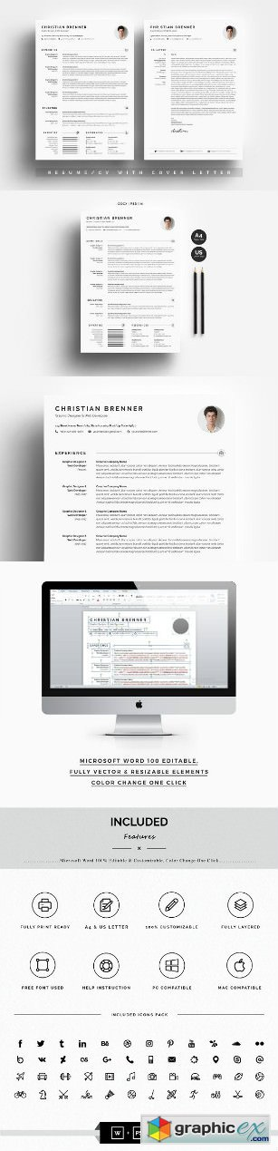 Clean Resume CV With Cover Letter