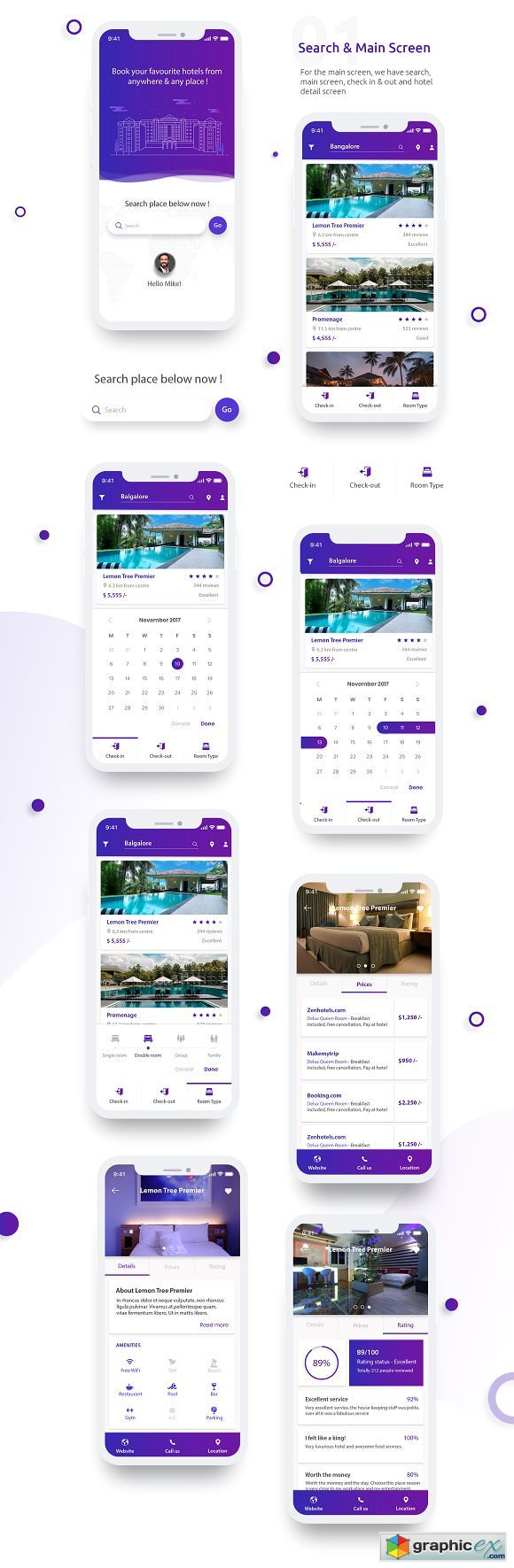 Complete UI Kit - Hotel Booking App