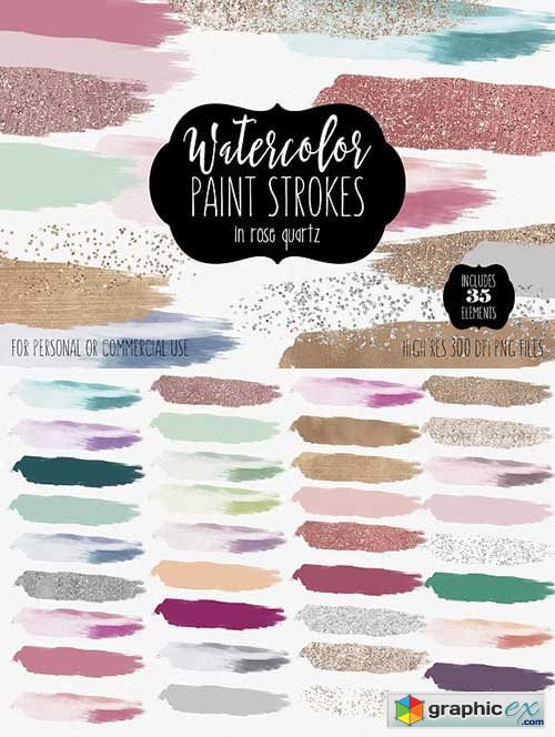 Watercolor Brush Strokes & Rose Gold » Free Download Vector