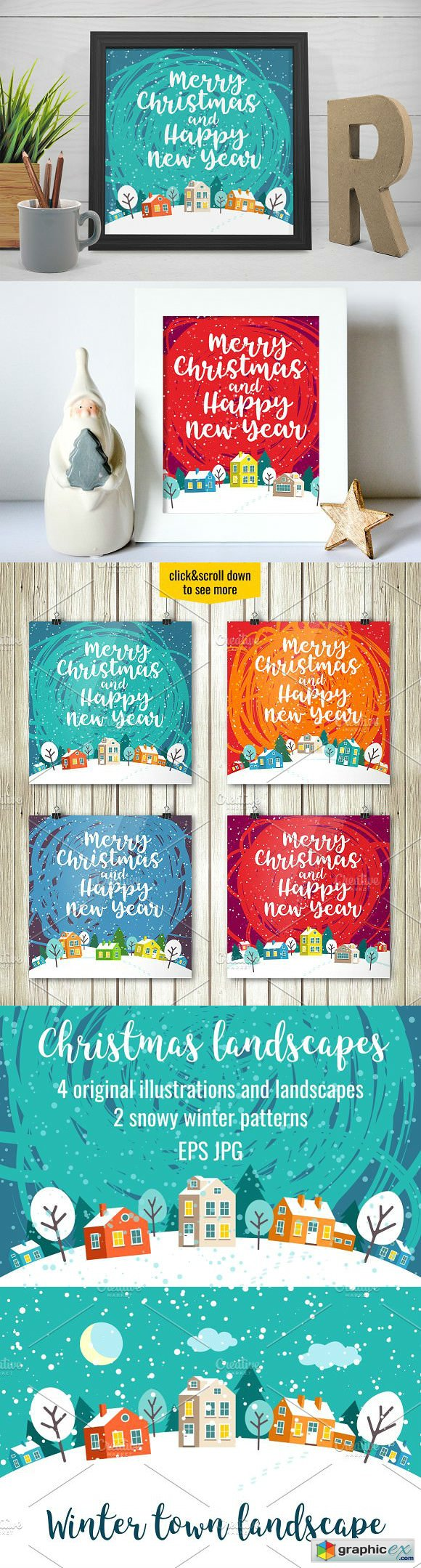 Greeting Christmas cards and pattern