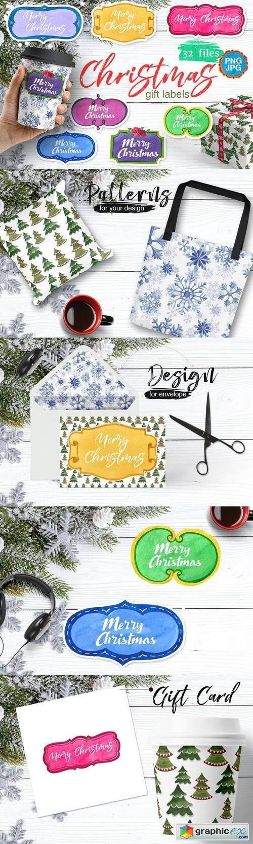 Gift labels PNG watercolor set