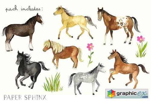 Watercolor Horses Clipart Pack 187 Free Download Vector