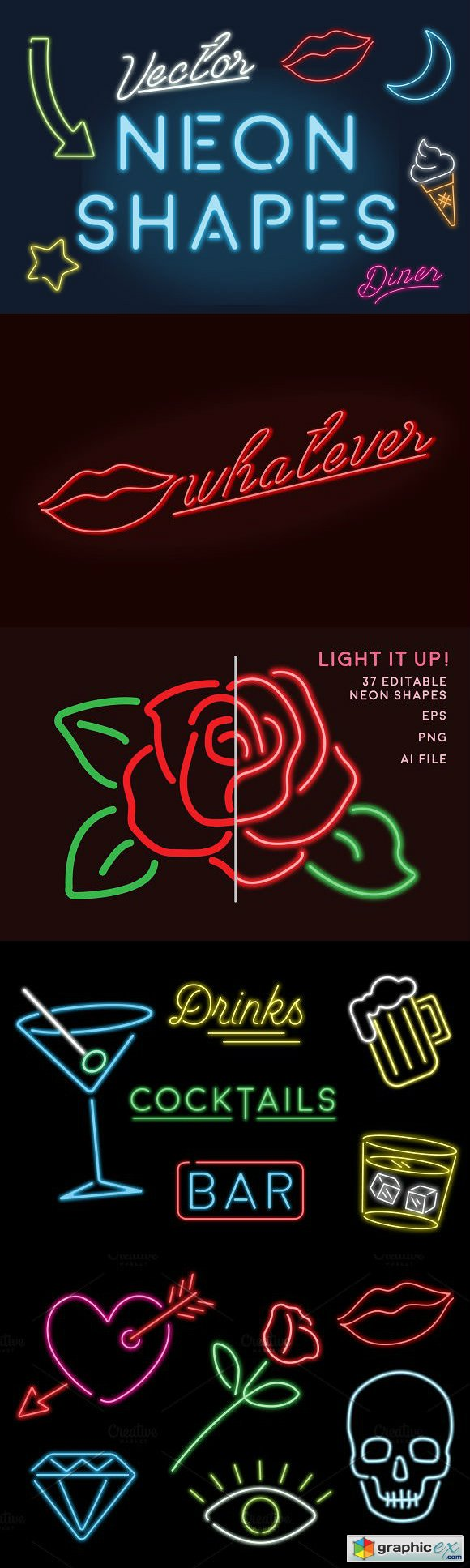 Neon Sign Shapes Vector Pack