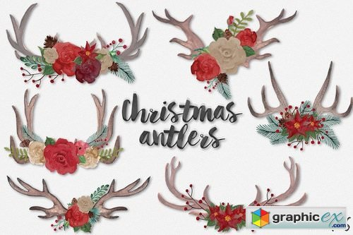 Christmas antlers clip art