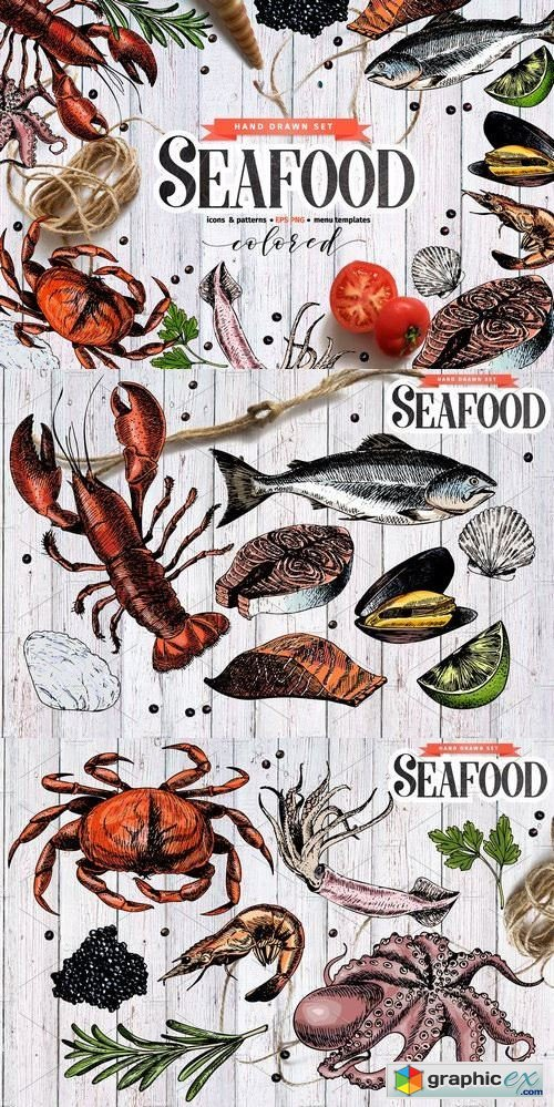 Seafood hand drawn colored set