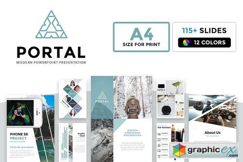 A4 Portal Modern Powerpoint Template Free Download Vector Stock
