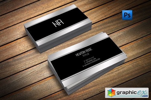 Silver metal finish business card » Free Download Vector