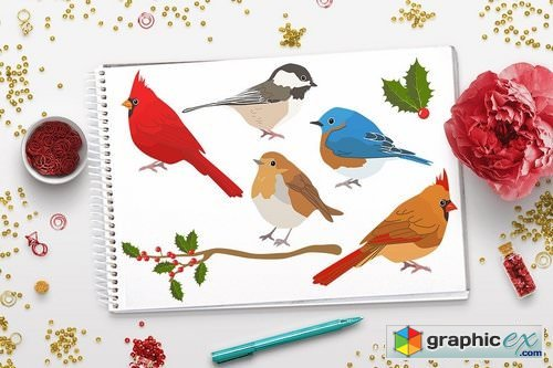Winter Birds Christmas Clipart