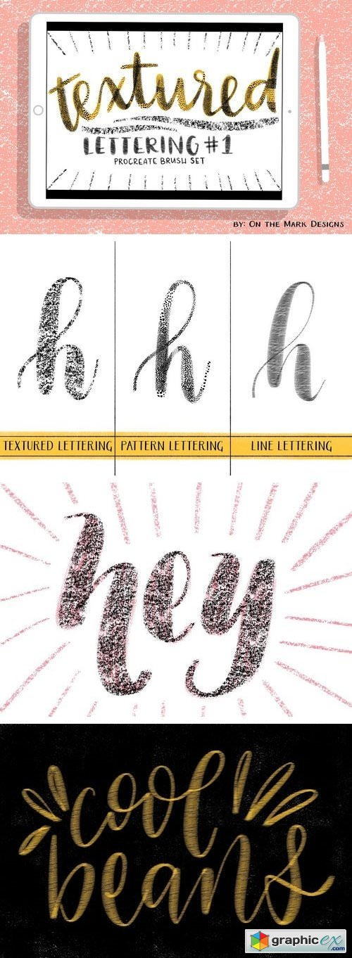 Textured Lettering Brushes Set 1