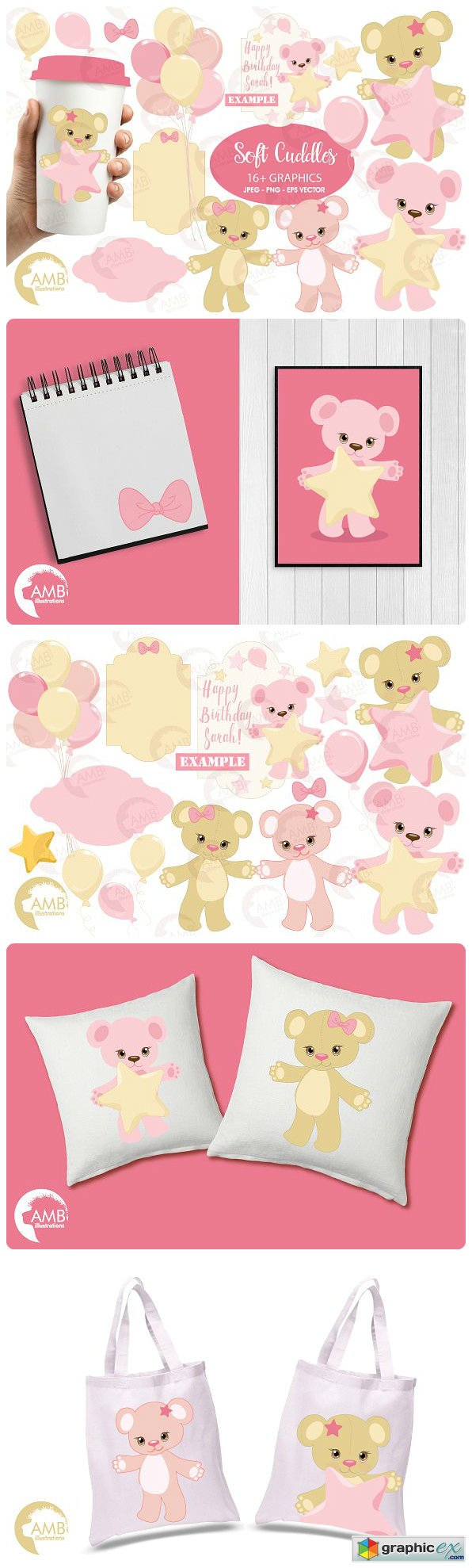 Baby bear in pink, nursery AMB-1450