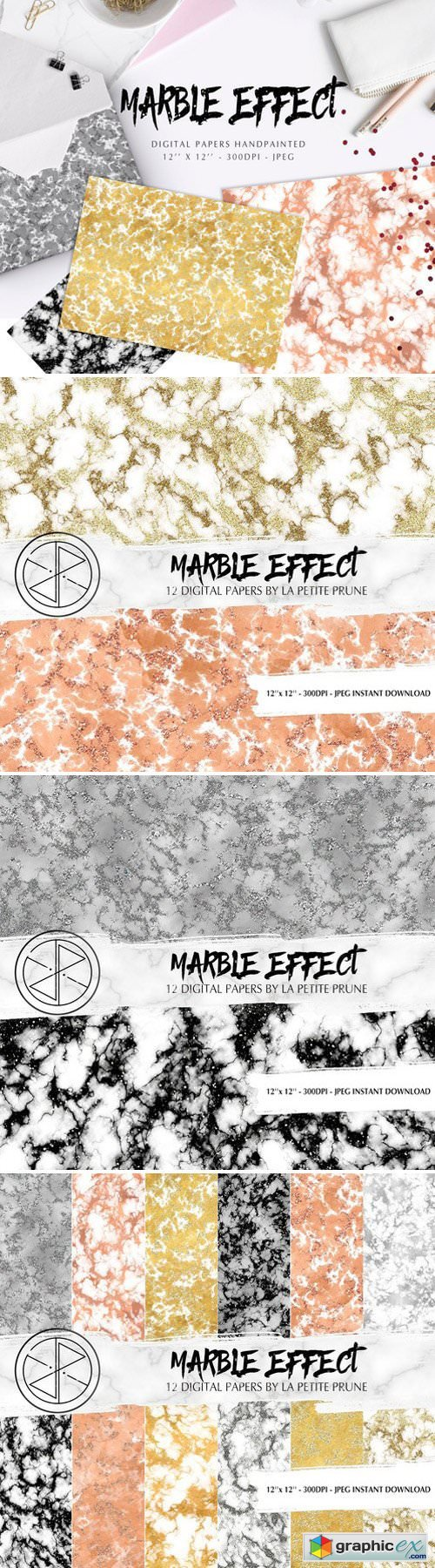 Digital papers marble effect