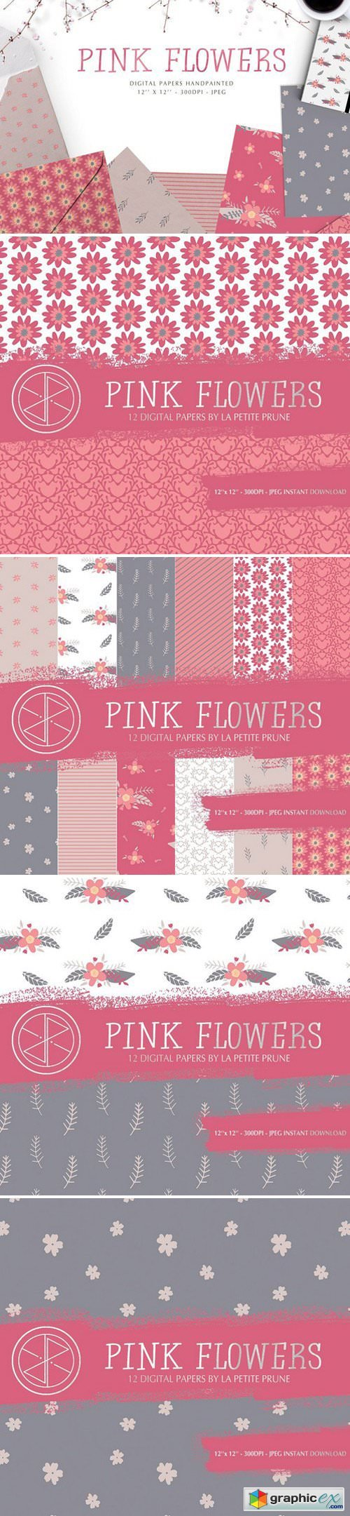 Pink flowers digital papers