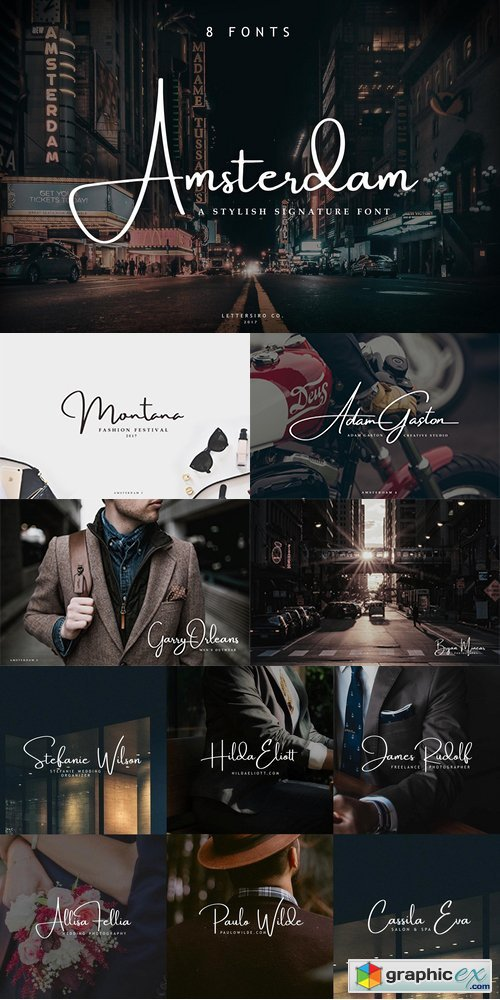 Amsterdam 8 Elegant Fonts » Free Download Vector Stock Image
