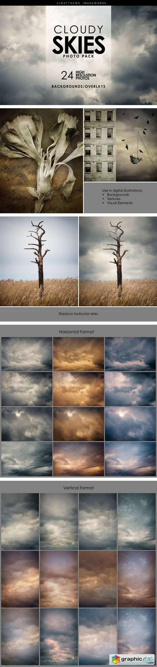 Cloudy Skies-Backgrounds & Overlays