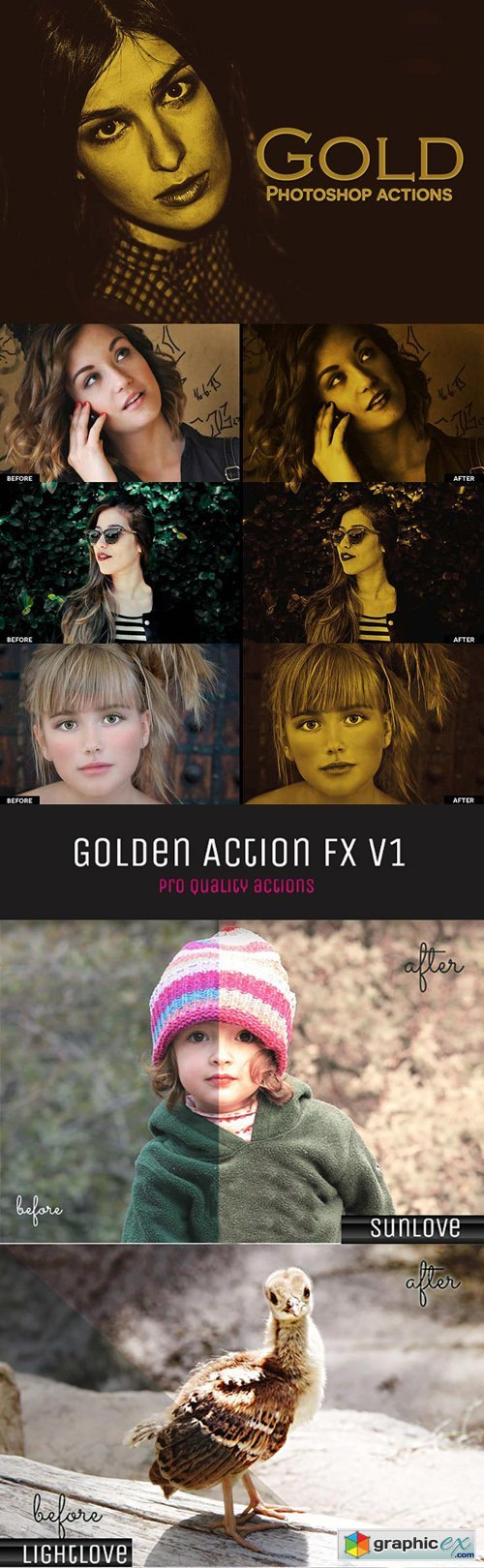 5 Golden Photoshop Actions (RAW/JPEG)