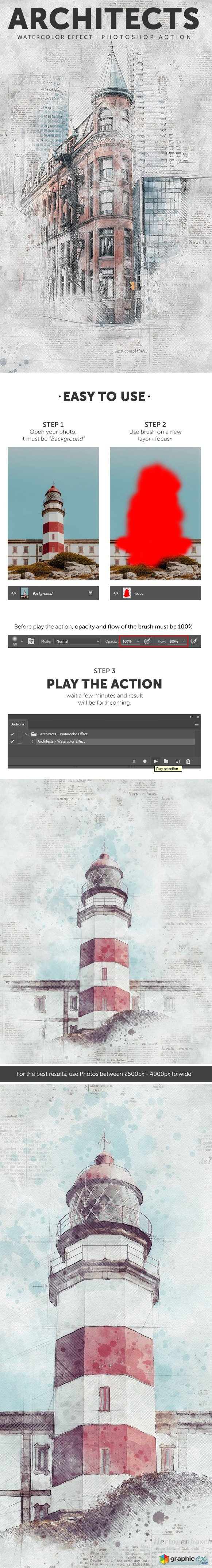 Architects - Watercolor Effect Photoshop Action » Free