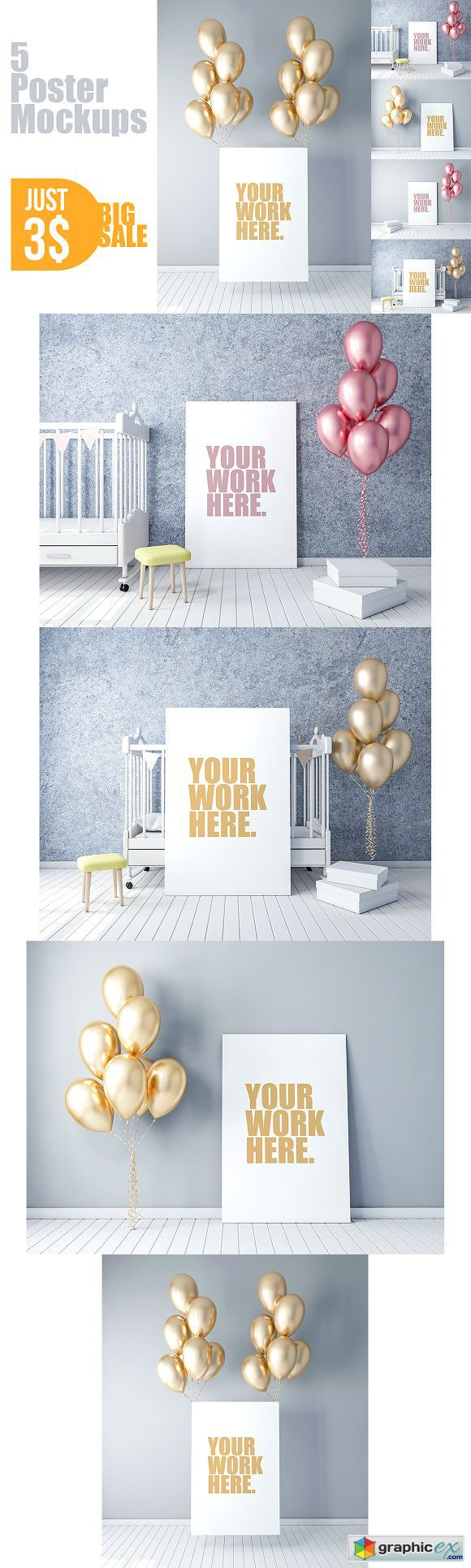 Canvas Poster PSD Mockup