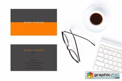 Simple elegant orange business card