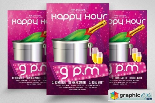 Happy Hour Poster Flyer Templates