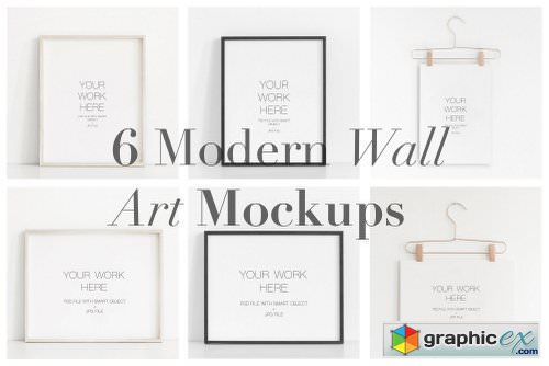 6 Modern Wall Art Mockups Bundle
