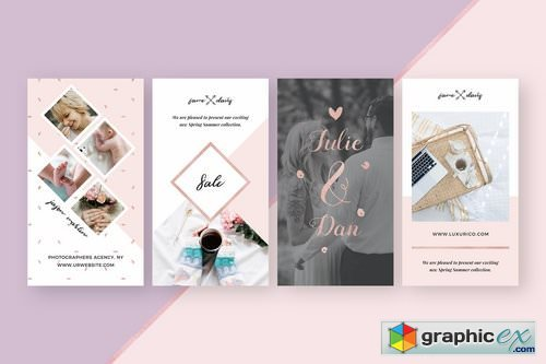 Rosegold Instagram Stories Pack » Free Download Vector Stock Image