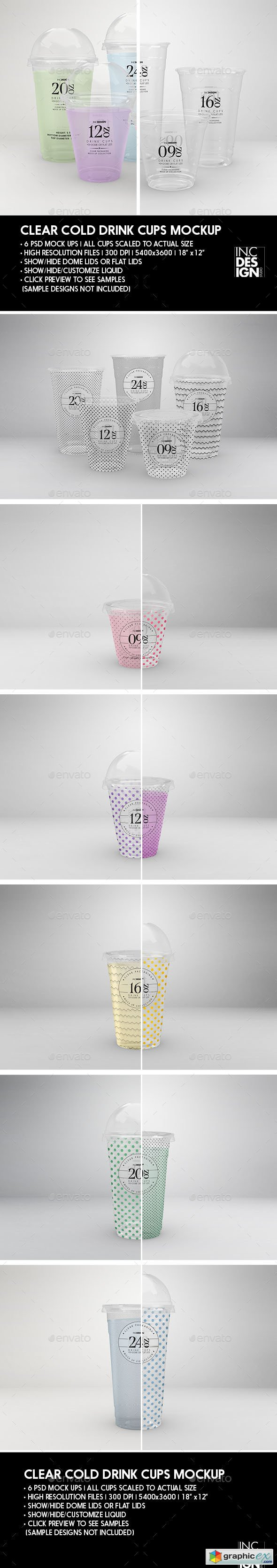 Clear Cold Drink Cups Packaging Mock Up