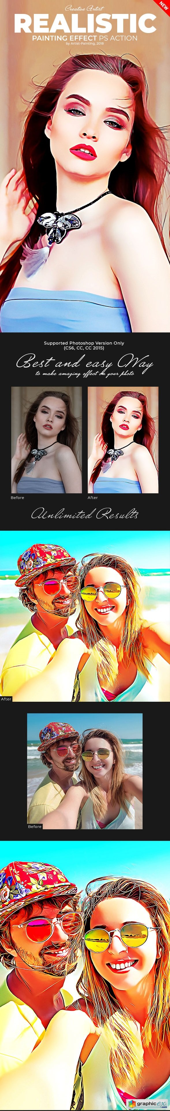 Realistic Painting Effect Photoshop Action 21458673