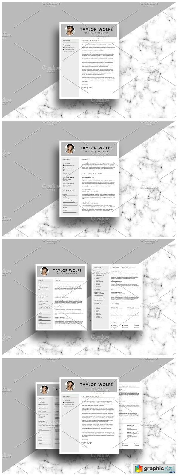 Resume CV Template - 3 Page - Taylor