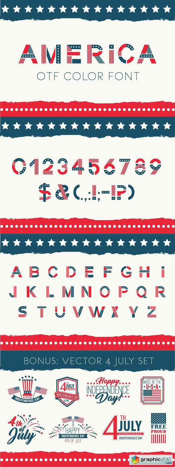 America otf color font » Free Download Vector Stock Image Photoshop Icon