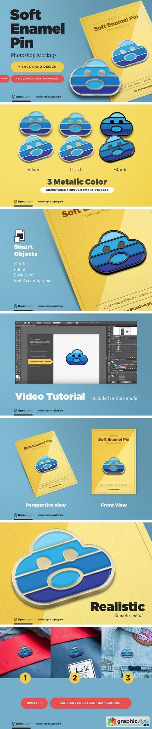 Soft Enamel Pin Mockup » Free Download Vector Stock Image Photoshop Icon