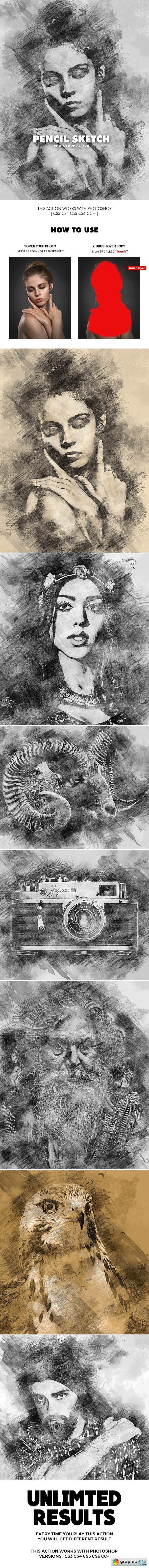 Pencil sketch photoshop action 21437308
